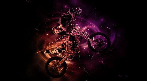 Motocross Extreme Sports  Canvas Framed Wall Art - 32